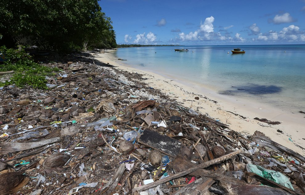 Scenes of rubbish on the shorelines around Tuvalu during the European Union Commissioner for Development Andris Piebalgs and Murray McCully, New Zealand Minister of Foreign Affairs joint Pacific Energy Mission to Samoa, Tuvalu, Tarawa, Kiritimati Island and Raratonga. April 24, 2014.