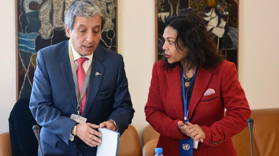 El presidente de la COP20, Manuel Pulga Vidal, y la secretaria de la COP,  June Budhooram. (Foto: International Institute for Sustainable Development).
