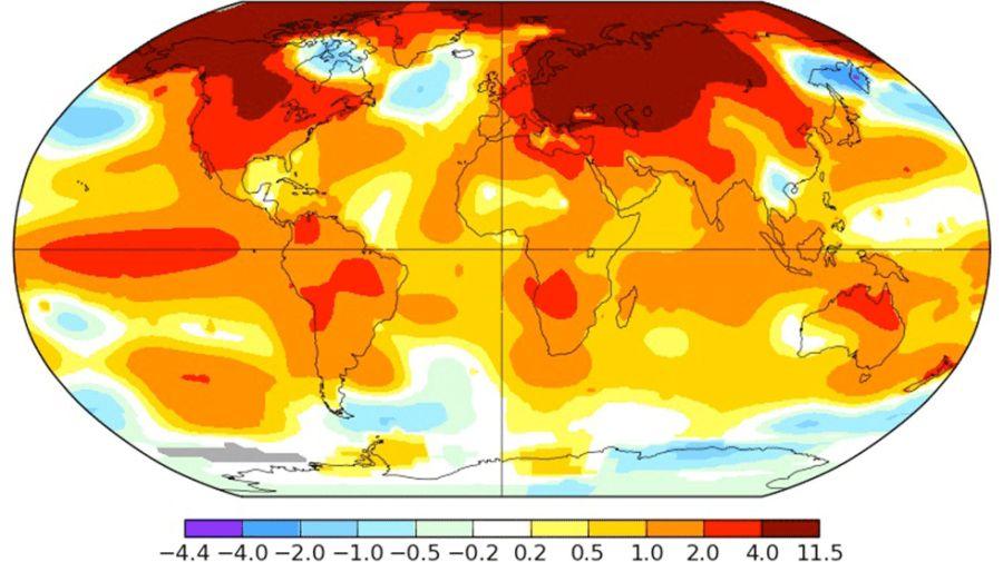 Mapa mundial en el que se muestra la variación de temperatura en febrero respecto a la media del periodo 1951-1980 (Nasa)